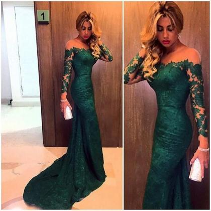 Emerald Green Lace Prom Dress, Long..