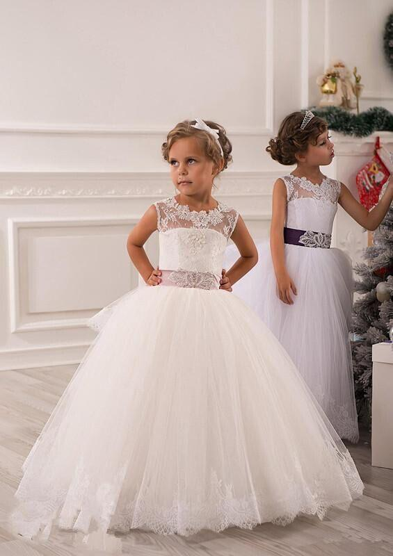 Lace Flower Girl Dress, 2015 White Kids Dress, Cheap Kids Party ...