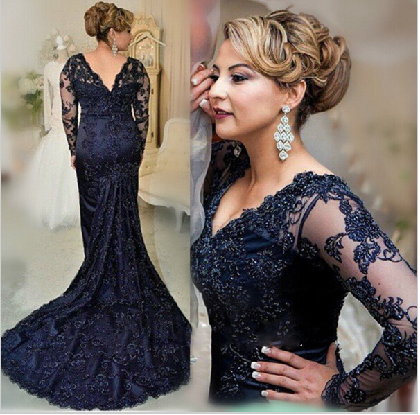 Sexy V Neck Long Mermaid Lace Prom Dresses, 2016 Vintage Navy Blue ...