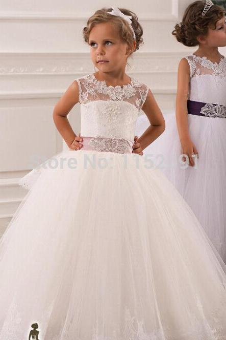 2015 Princess Flower Girls Dress, Sheer Flower Girl Dress, White Lace Birthday Party Dress For Girls, Girls Pageant Dress, Girls First Communion Dress 2015,