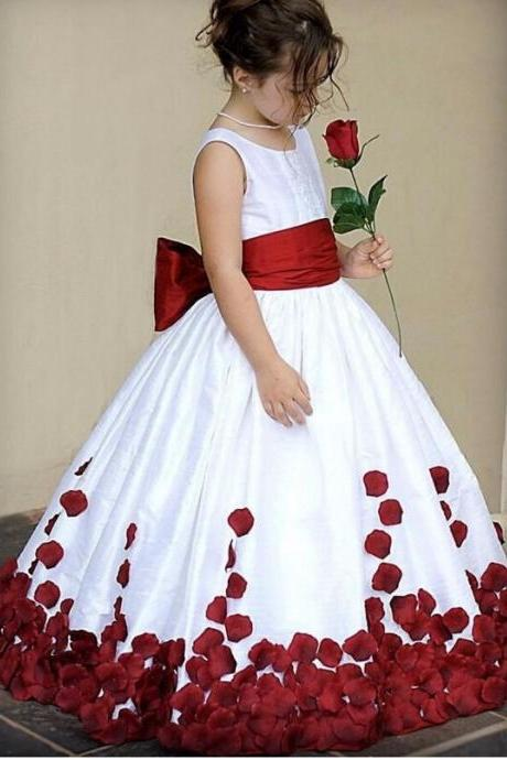 Bow Knot Flower Girls Dress, Cheap Wedding Party Dress For Girl, Red Flower Flower Girls Dress, Cute First Communion Dress, Cheap Kids Dress For Girls