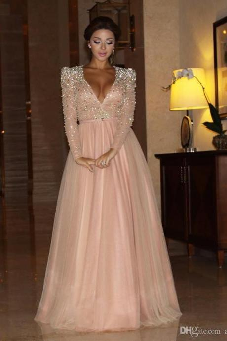 Long Sleeve Crystal Long Prom Dresses, Sexy V Neck Long Evening Dresses 2016, Luxury Crystal Top A Line Formal Evening Dresses, New Evening Dresses With Belt , High Waist Long Prom Party Dress With Sleeve