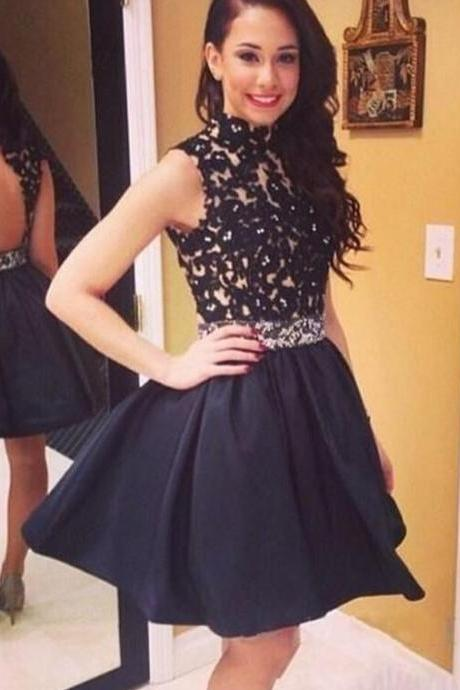 High Neck Short Prom Dress, Black Appliques Lace Short Cocktail Dress, Little Black Short Prom Dress Party Gowns, 2016 Cheap Puffy Prom Dress, Sexy Open Back Short Prom Dress, Cheap Homecoming Dresses With Appliques