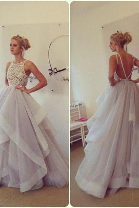 Ball Gown Prom Dress, Stunning Prom Dresses 2016, Sexy Backless Long Party Dresses, Plus Size Formal Evening Dress, Tiered Ruffles Formal Dress, 2016 Vintage Beaded Evening Dress Gowns
