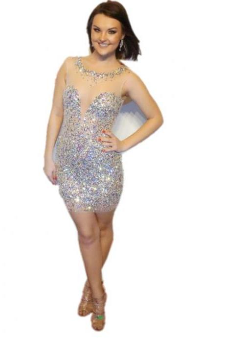 2016 Luxury Beaded Short Homecoming Dresses Sexy See Through Back Cocktail Dress Sheath Slim Figure Cheap Price Custom Made Party Dress