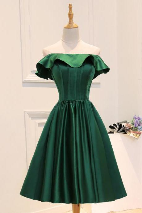 Tulle Short Homecoming Dresses,Ball Gown Short Prom Dresses, Solid Green Color Short Party Dress,Custom Cheap Short Junior Party Dresses