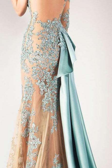 Mint Green Beaded Applique Prom Dress Super Sexy Evening Dress