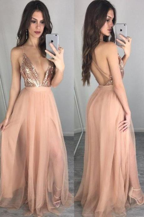 Gold Sequins lace Prom Dress