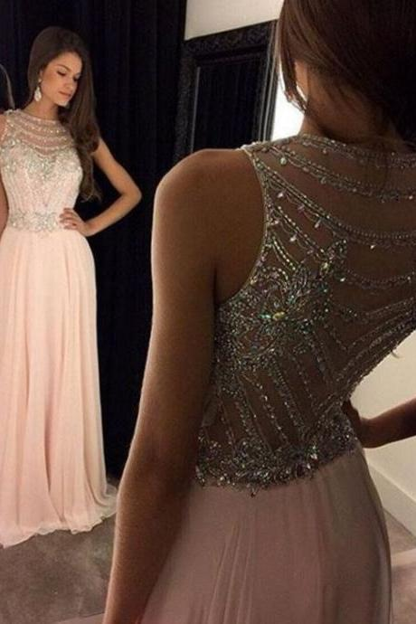 Women's Crystal Beaded Prom Dresses 2017 Long Evening Gowns Formal Dress